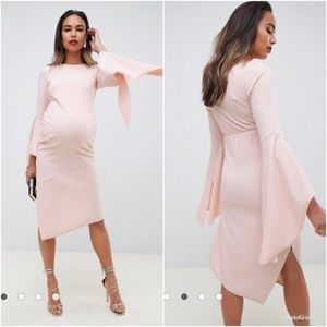 NWT - soft pink flute sleeve maternity dress